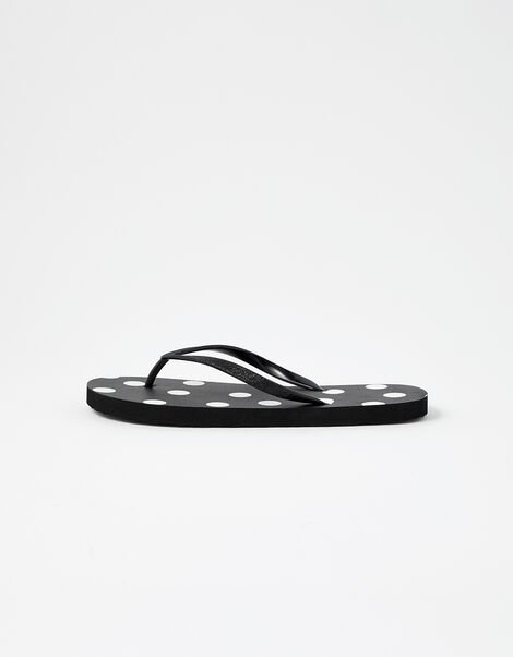 Spot Print Flip Flops  Black, Black (BLACK), large