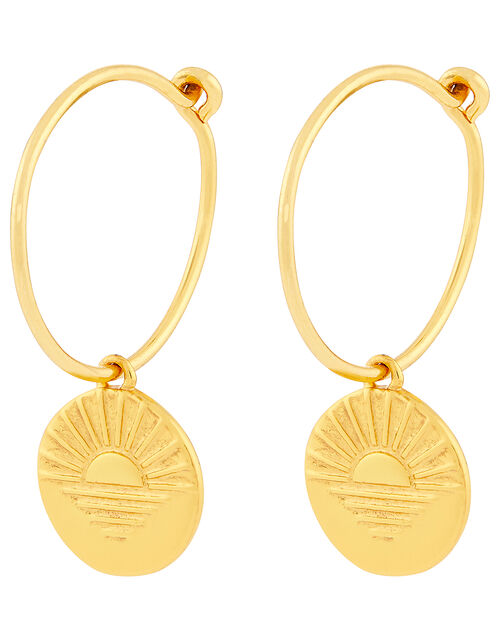 Gold-Plated Hamsa Hand Huggie Hoops, , large