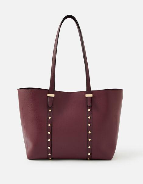 Ali Studded Tote Bag  Red, Red (BURGUNDY), large