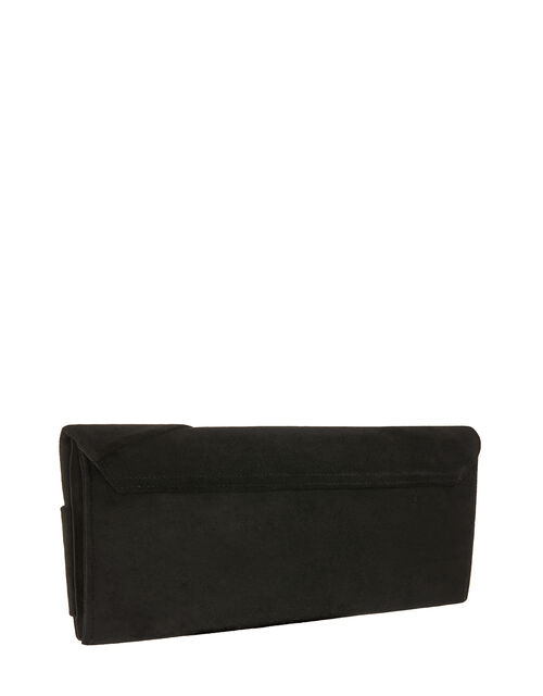 Suedette Bow Clutch Bag, , large
