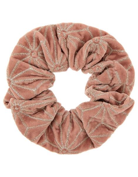 Oversized Embroidered Velvet Scrunchie, , large