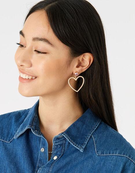 Feel Good Statement Heart Earrings, , large
