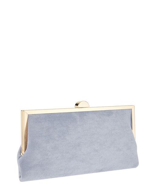 Suedette Clipframe Clutch Bag, Blue (BLUE), large