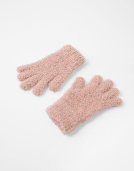 Super-Stretch Fluffy Knit Gloves Pink, Pink (PALE PINK), large