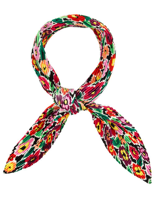Retro Flower Pleated Scarf, , large