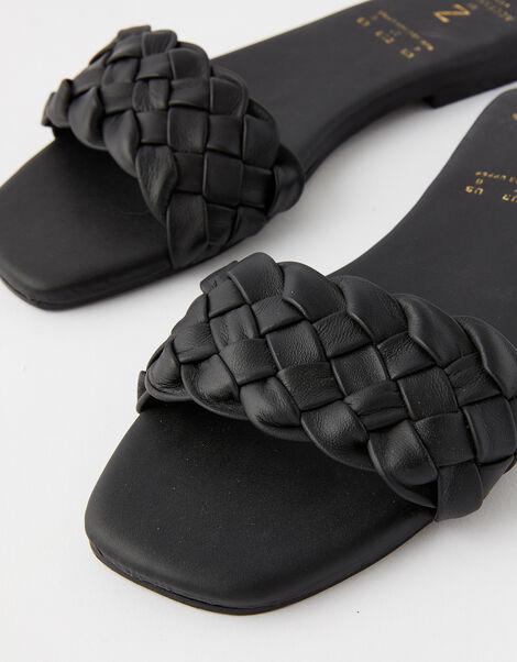 Plaited Strap Leather Sliders Black, Black (BLACK), large