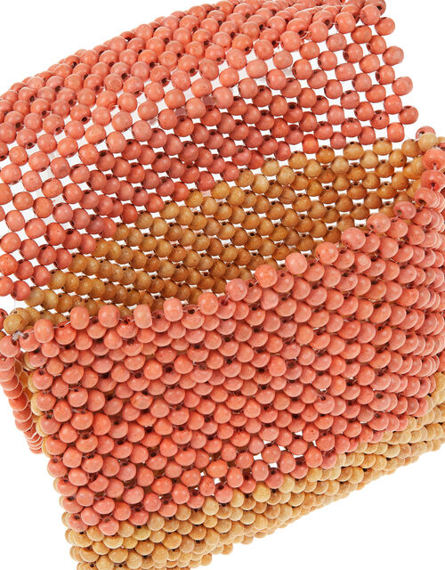 Wooden Bead Cross-Body Bag, Orange (CORAL), large