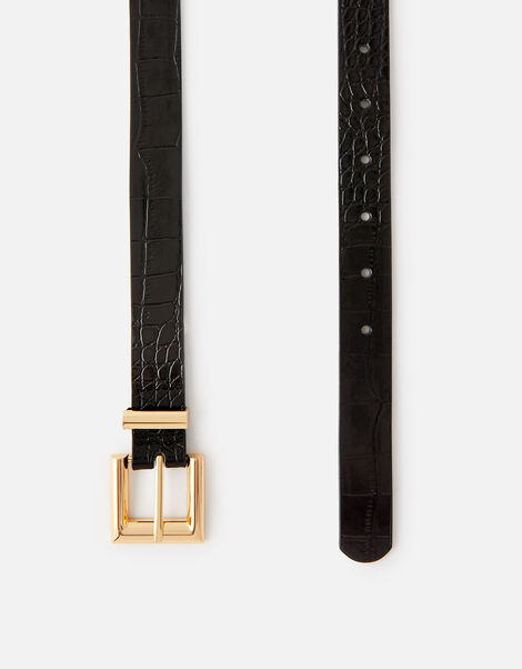 Croc Print Belt  Black, Black (BLACK), large