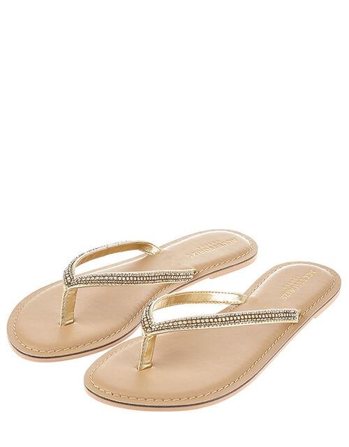 Daniella Diamante Flip Flops, White (CRYSTAL), large