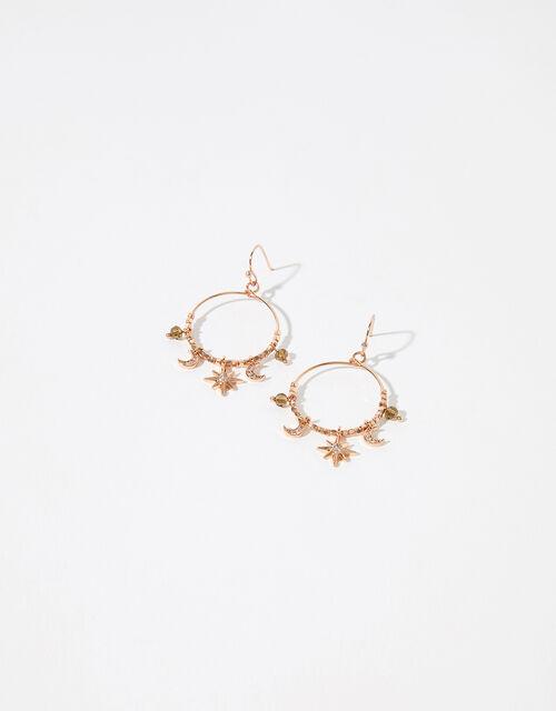 Sparkle Star and Moon Hoop Earrings, , large