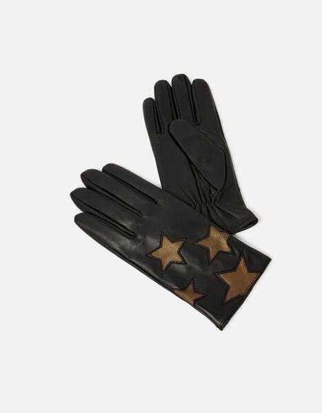 Star Leather Gloves Black, Black (BLACK), large