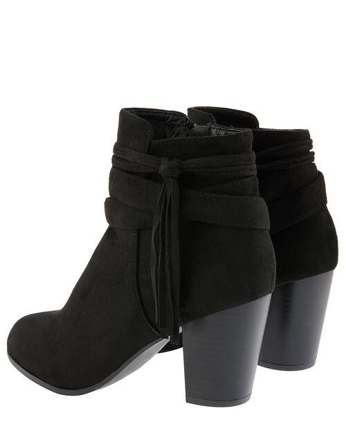 Heeled Tassel Ankle Boots, Black (BLACK), large
