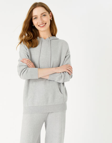Lounge Knit Hoody Grey, Grey (GREY), large