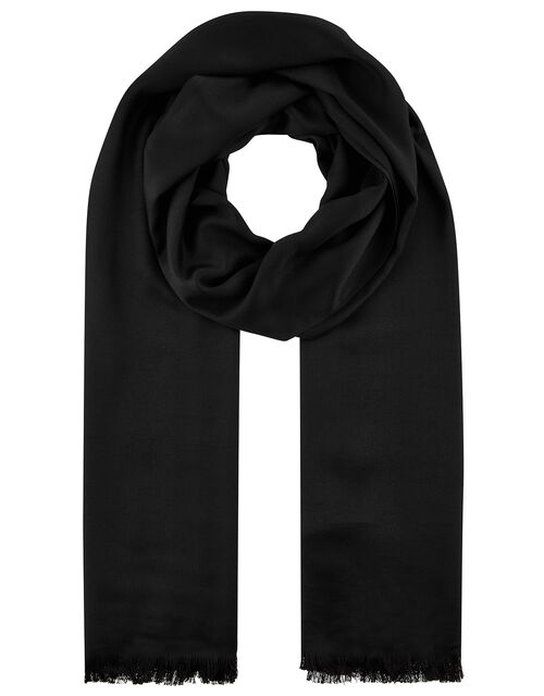 Plain Woven Scarf, Black (BLACK), large