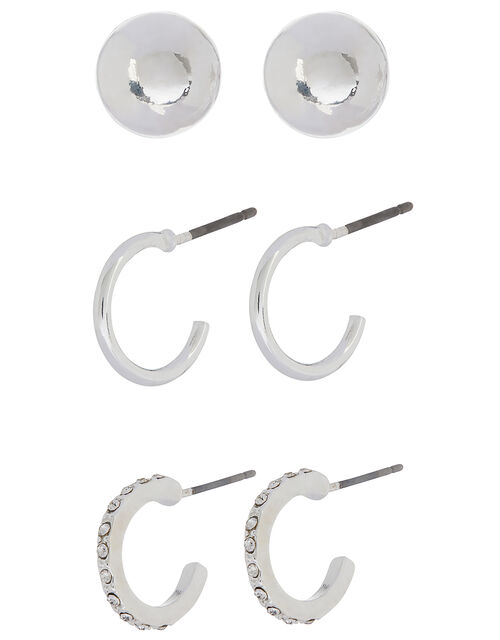 Sparkle Mini Hoop and Stud Earring Set, , large