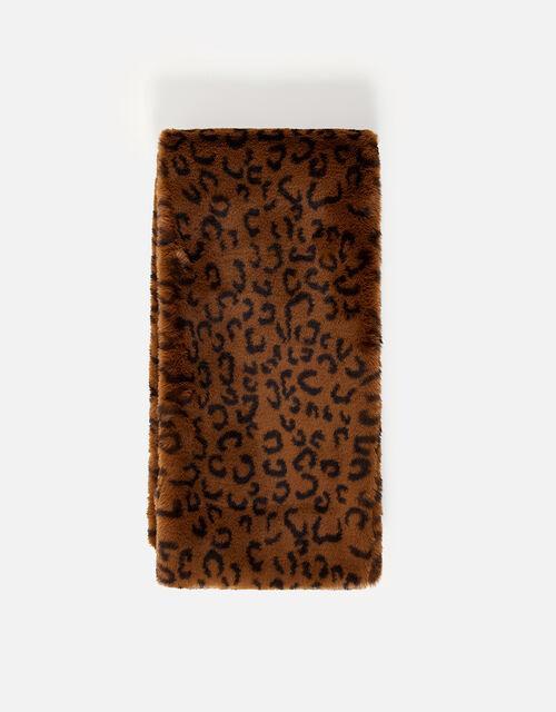 Leopard Luxe Faux Fur Scarf, , large