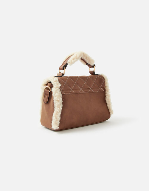 Faux Shearling Top Handle Bag, , large