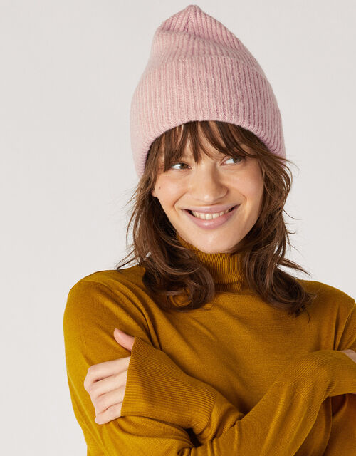 Knit Beanie Hat, Pink (PALE PINK), large