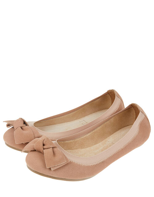 Suede Elasticated Ballerina Flats with Bow, Nude (NUDE), large
