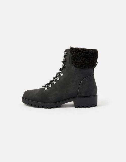 Borg Trim Biker Boots, Black (BLACK), large