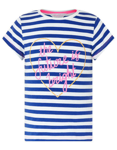 The Future is Bright Heart and Stripe T-Shirt, Blue (BLUE), large