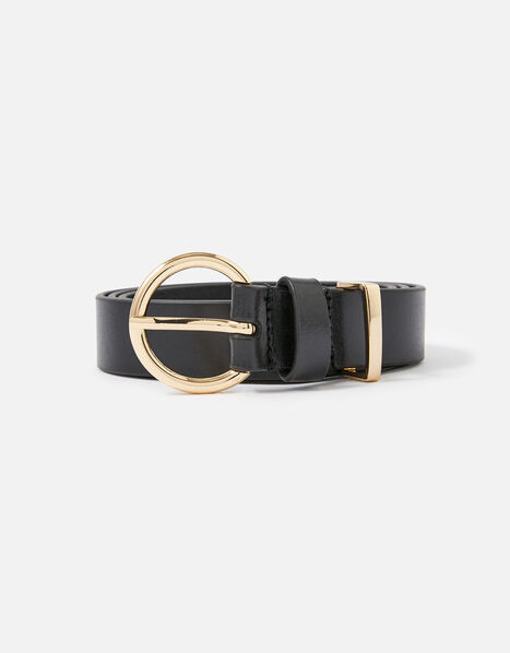 Round Buckle Leather Jeans Belt Black, Black (BLACK), large