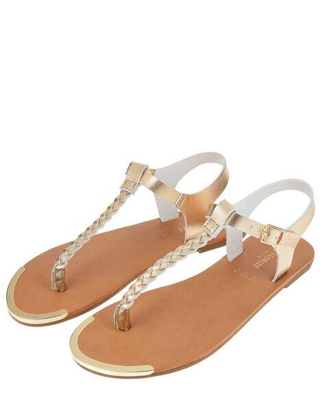Plaited Strap Sandals Gold, Gold (GOLD), large