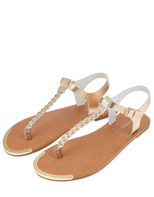 Plaited Strap Sandals, Gold (GOLD), large
