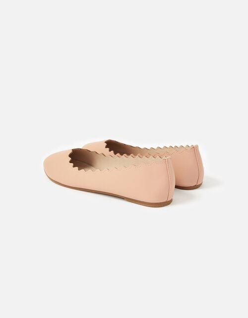 Scallop Ballerina Flats, Nude (NUDE), large