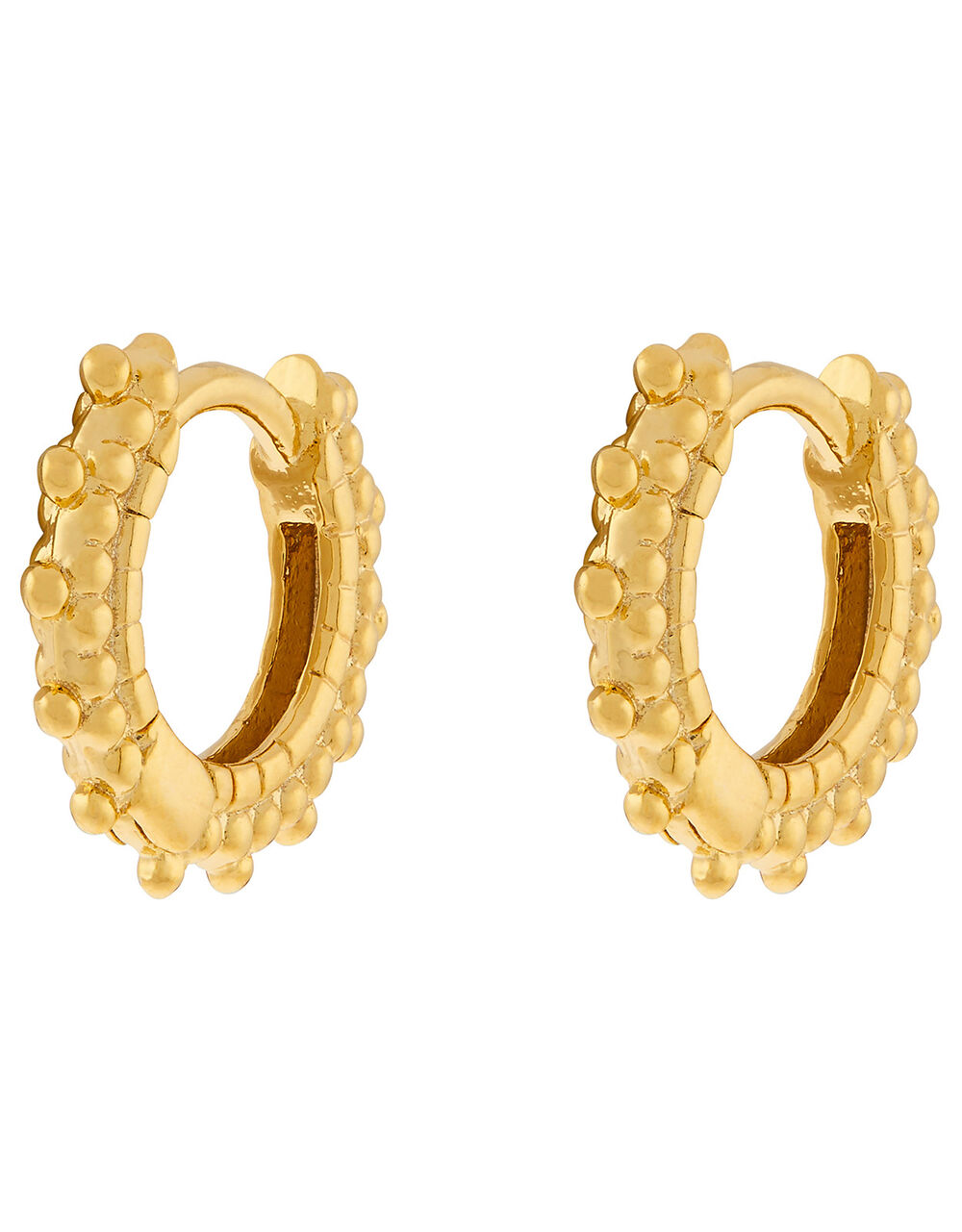 Gold-Plated Bobble Huggie Hoop Earrings, , large