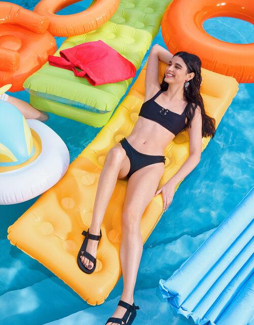 Eyelet Detail Bikini Crop Top, Black (BLACK), large