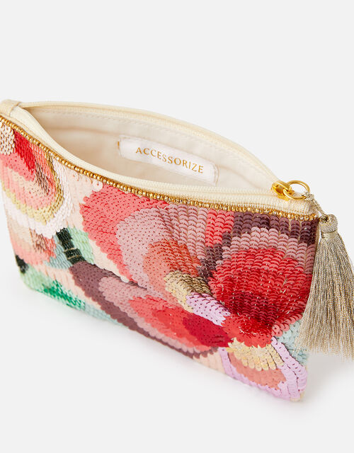 Tamsin Floral Sequin Pouch Bag, , large