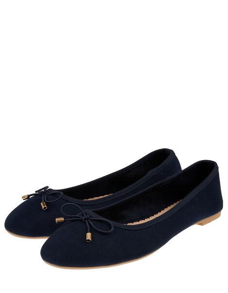 Sophia Bow Detail Ballerina Flats Blue, Blue (NAVY), large