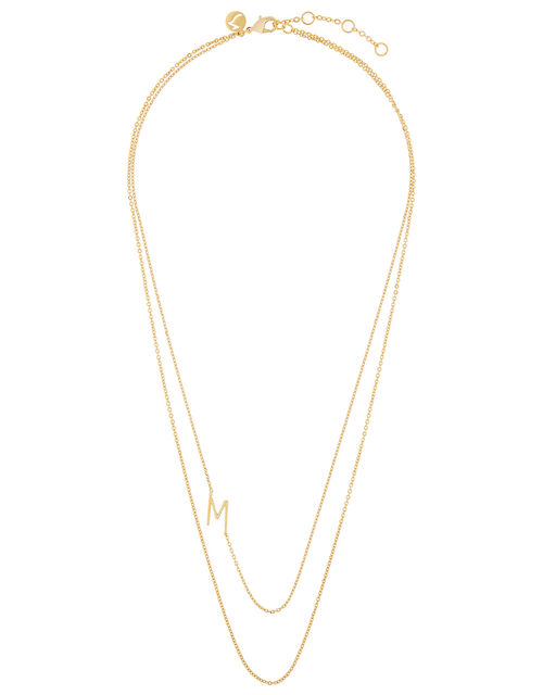 Gold-Plated Double Chain Initial Necklace - M, , large