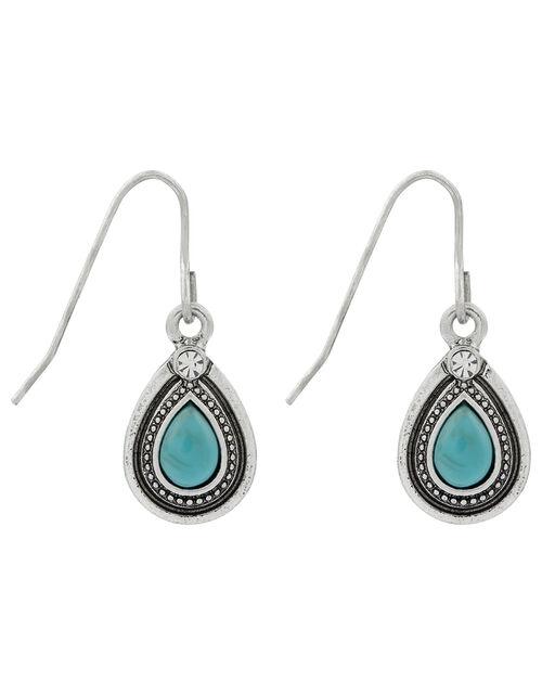 Turquoise Teardrop Drop Earrings, , large