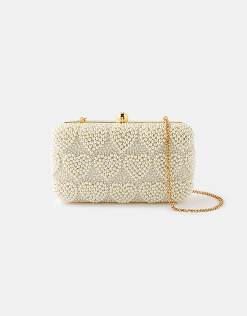 Pearly Heart Hardcase Clutch Bag, , large