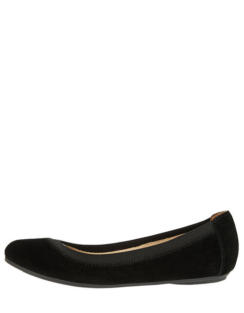 Suede Elasticated Ballerina Flats, Black (BLACK), large