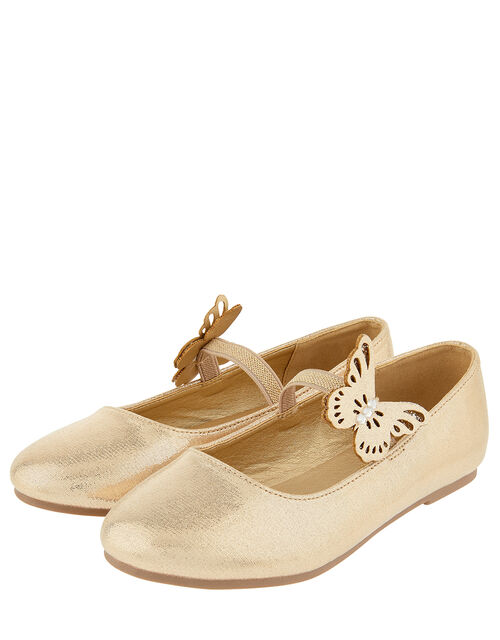 Butterfly Shimmer Ballerina Shoes, Gold (GOLD), large