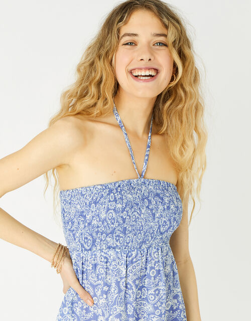 Paisley Bandeau Dress , Blue (NAVY), large