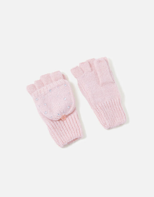 Girls Sparkle Gem Capped Mittens, Pink (PINK), large