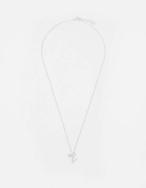 Sterling Silver Heart Initial Necklace - V, , large
