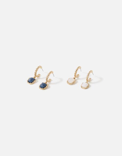 Stone Twisted Hoop Earring Set, , large