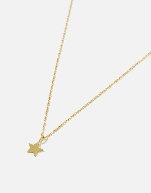 Gold-Plated Sterling Silver Star Pendant Necklace, , large