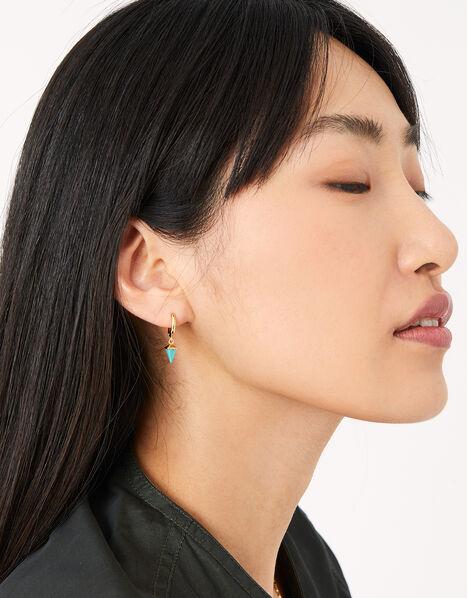 Healing Stones Huggie Hoops - Turquoise, , large
