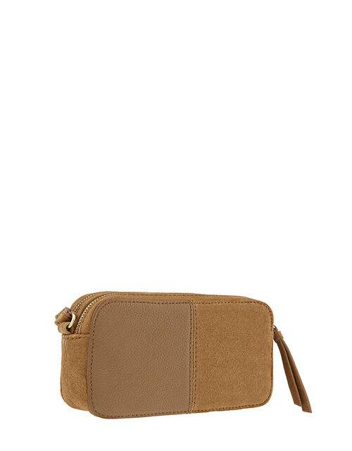 Macy Suede and Leather Cross-Body Bag, Tan (TAN), large