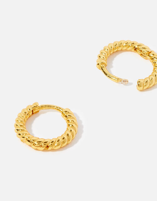 Gold Vermeil Twisted Rope Hoops , , large