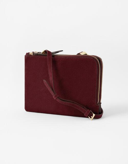 Croc Cross-Body Bag, Red (BURGUNDY), large