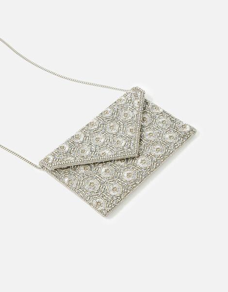 Tamara Embellished Clutch Bag Silver, Silver (SILVER), large