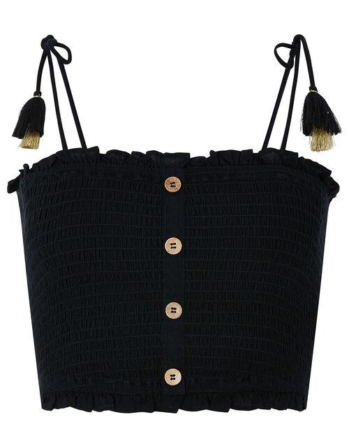 Charlotte Ruched Bandeau Top, Black (BLACK), large
