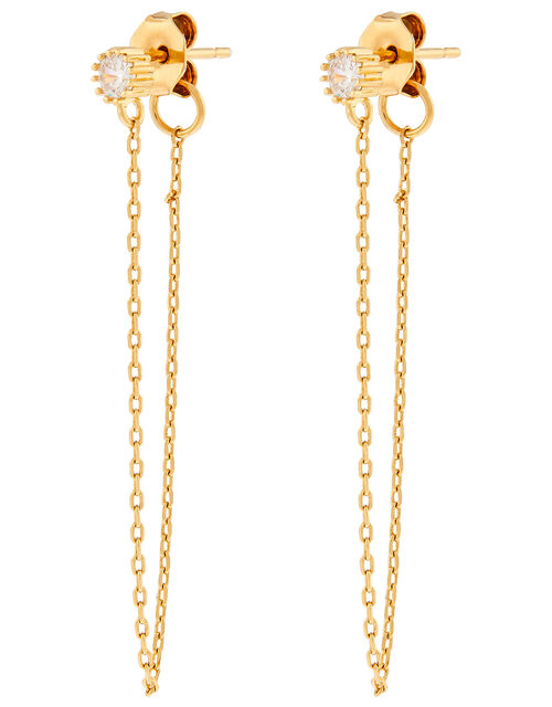 Gold-Plated Chain and Crystal Drop Earrings, , large